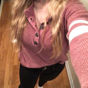 AMERICAN EAGLE Henley pink and cream XS sweater